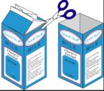 milk cartons cut